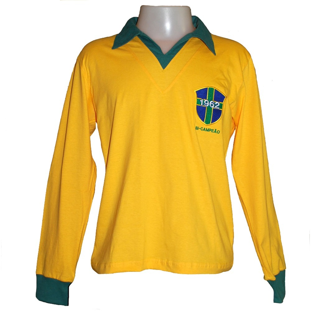 camisa retro brasil 1962 manga longa alusiva 62 ligaretro. Carregando zoom. f62cbac1353b3