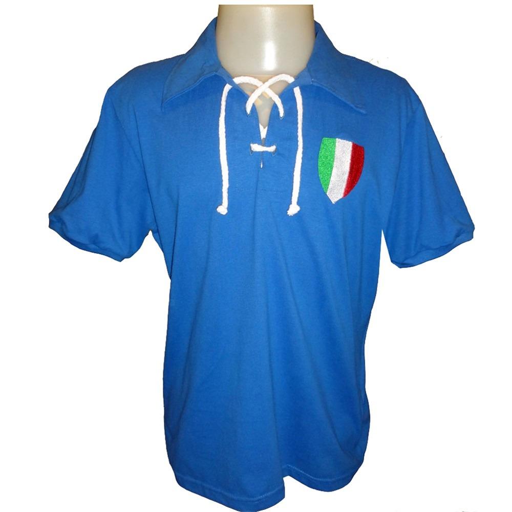 00b8ffd7f7 Camisa Retro Da Italia 1940 Década De 40 Azzura - R  69