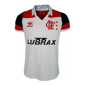 Camisa Retrô Flamengo 1988-1991 Branca Lubrax Bordada - 100% Algodão - M A N T O . S A G R A D O . R E T R Ô - 50% O F F