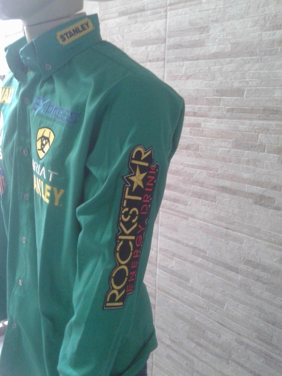 Camisa Rodeio Ariat Rodeo Verde Bordado Costas - R  185 3c2f7eaee36