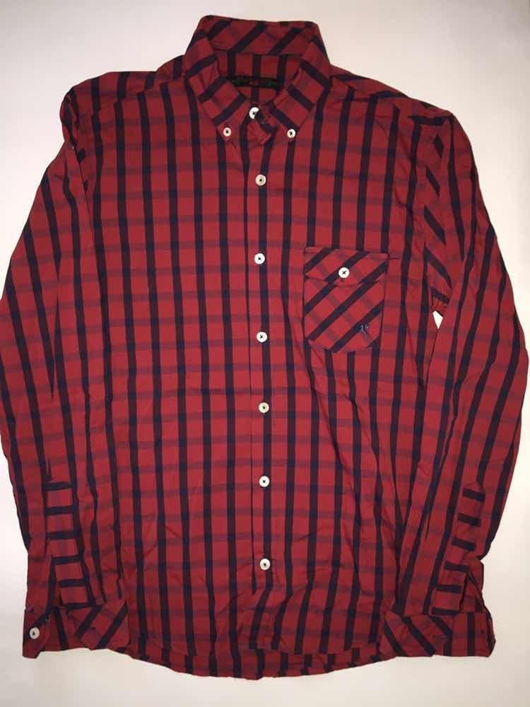 gran venta 100% Calidad Super baratas Camisa Roja Con Azul Manga Larga De Hombre. Talle 40 - $ 650,00