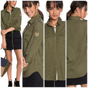 talla 40 3c48b e857a Camisa Roxy Military Influence Mujer Parche Apliques