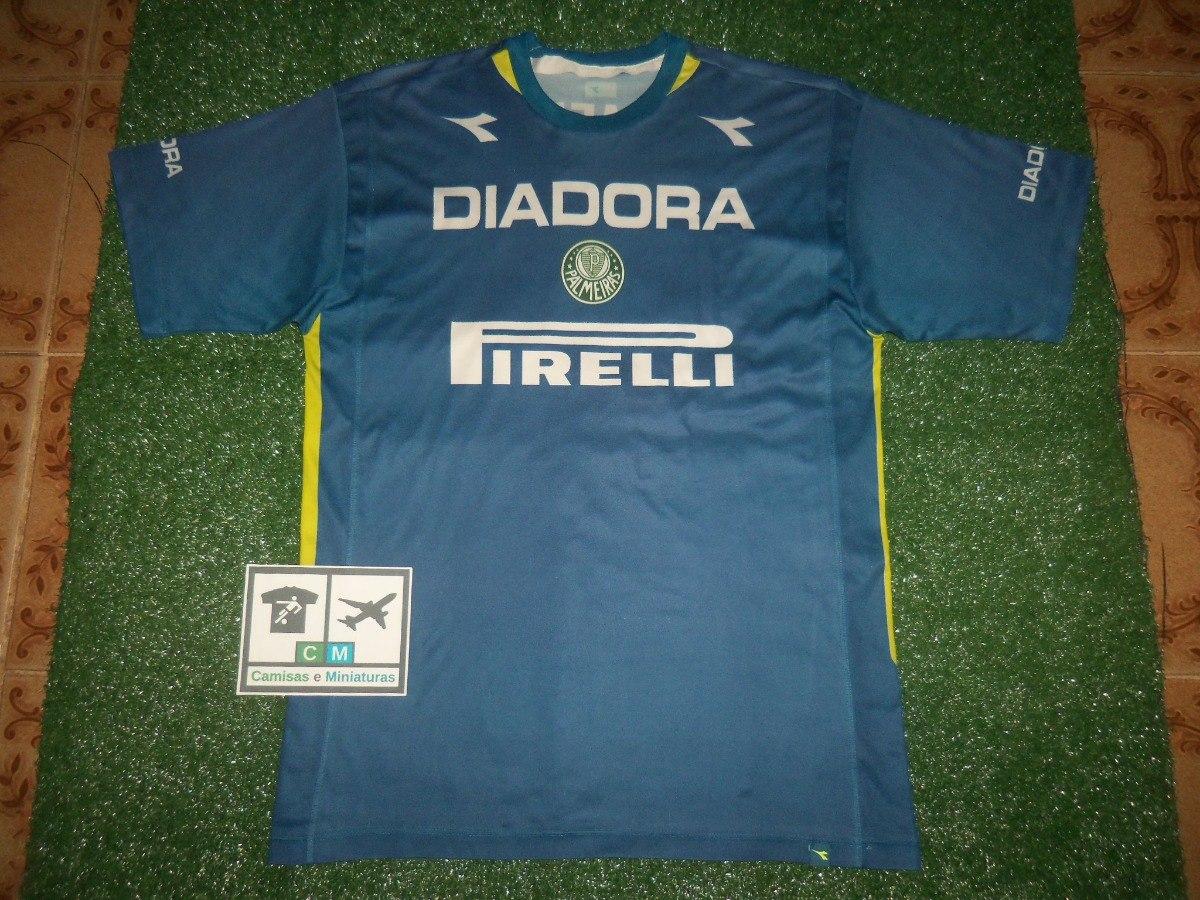 camisa s. e. palmeiras 2003 diadora treino azul. Carregando zoom. c06e97202e5b8