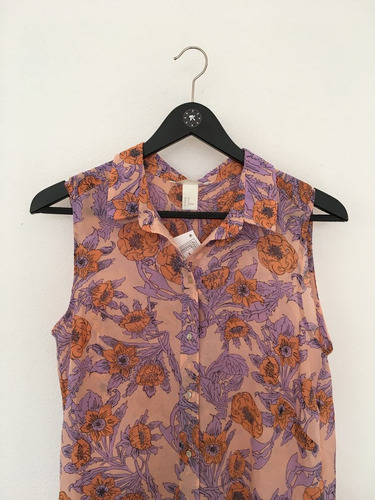 camisa s/ mangas floral