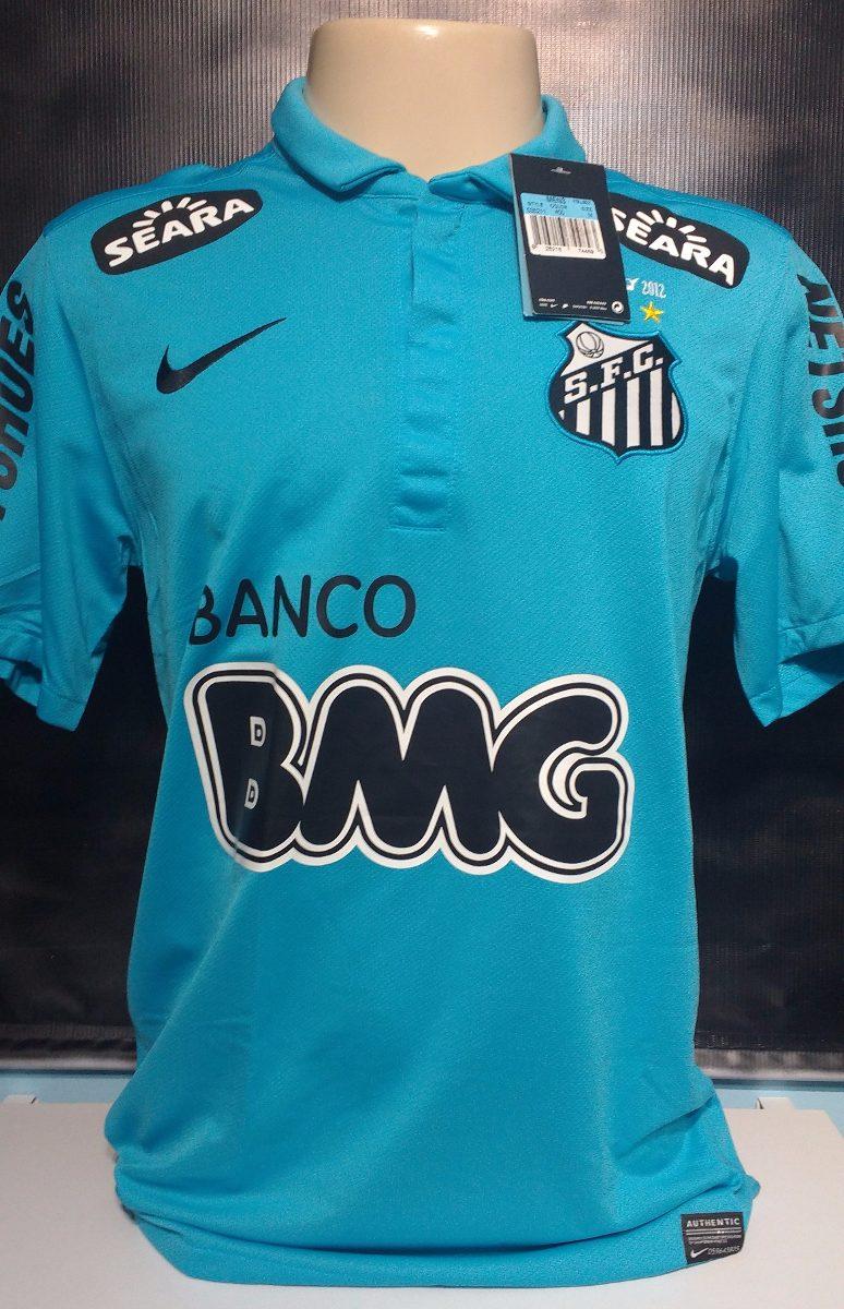 57217278e7 Camisa Santos Azul Neymar Com Todos Patrocínios - R  349