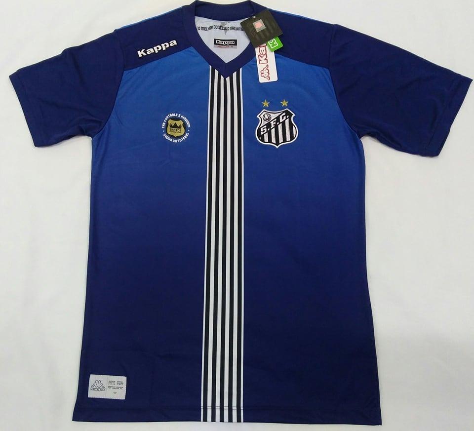 61c2f35253ec1 camisa santos oficial kappa uniforme 3 azul 2016 2017 nova! Carregando zoom.