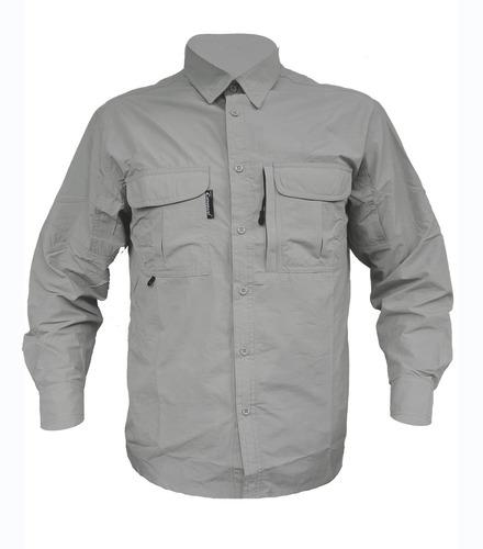 camisa secado rapido modelo safari talla 42 gris sf12