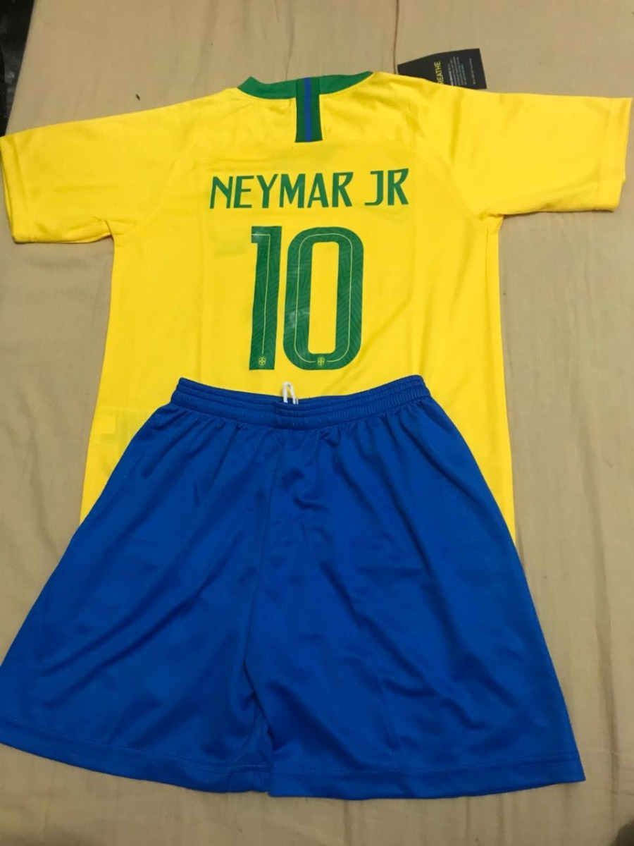 0d19e7be1 Kit Infantil Camisa Infantil Seleção Brasil Neymar Copa Azul - R  99 ...