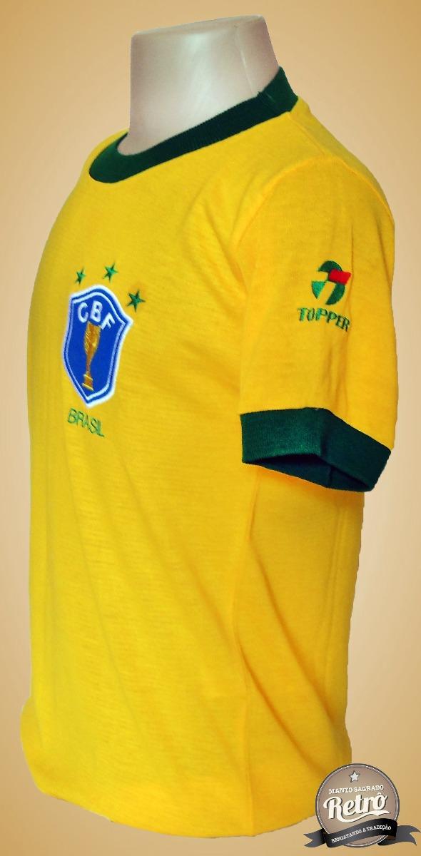 cbd564284f Camisa Retrô Seleção Brasileira Brasil 1982 - Tecido Retrô ! - R  98 ...