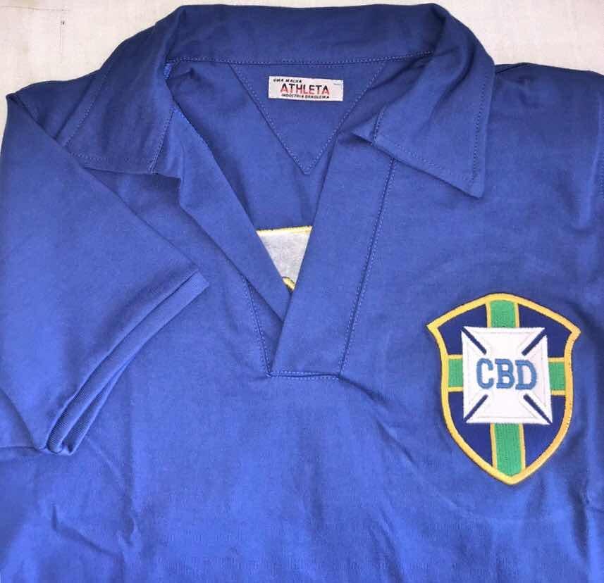 camisa seleção brasileira 58 - retro original athleta + aut. Carregando zoom . 351c678803e69