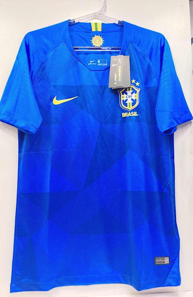 camisa seleção brasileira azul brasil jogo copa oficial 2018. Carregando  zoom. e877d02f8c16c