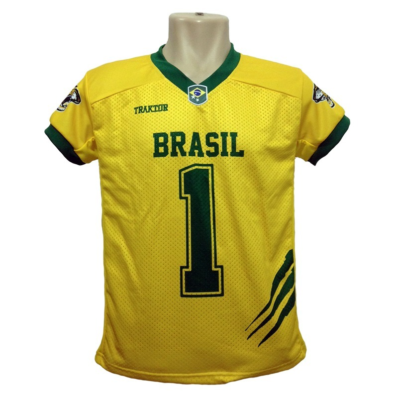 camisa seleçâo brasileira de futebol americano- brasil onças. Carregando  zoom. 18e5956df7aa3