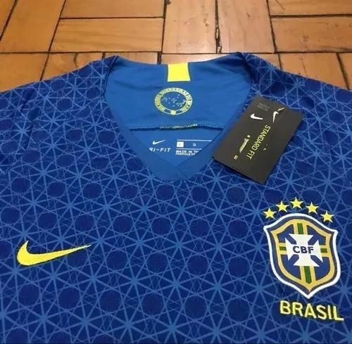camisa seleção brasileira feminino azul- postagem imediata