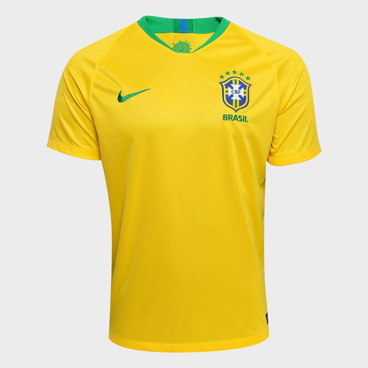 34fb9d78317f6 camisa seleção brasileira i nike 2018 nome e numero gratis. Carregando zoom.