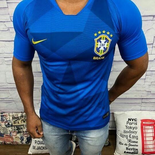 bd2efdae2a Camisa Seleção Brasileira Nike Azul 2018 Fãn Torcedor - R  169