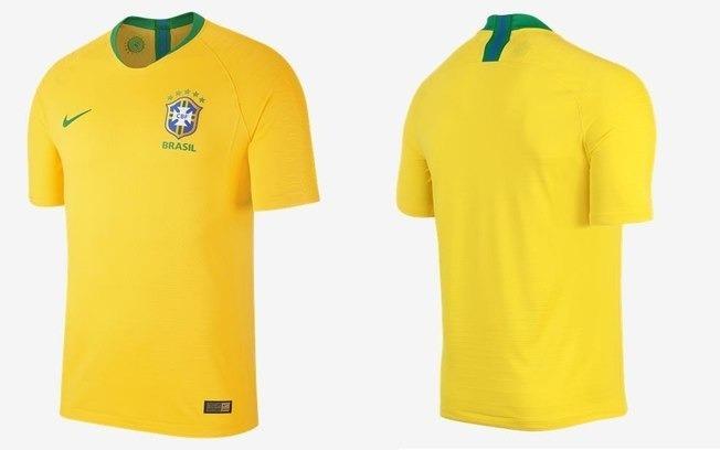 Camisa Seleção Brasileira Oficial Jogos 2018 Amarela Unissex - R ... 8c60f2467e419