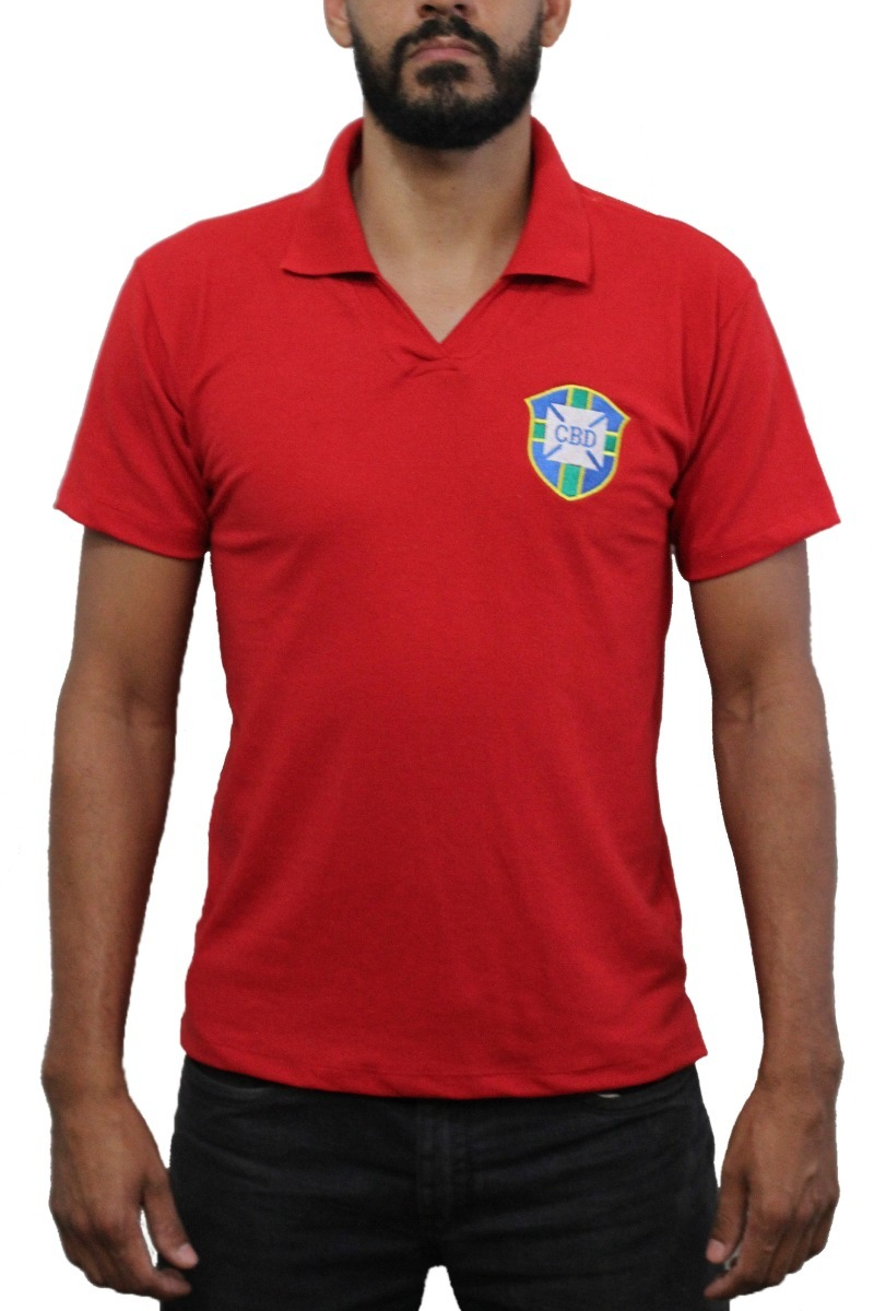 camisa seleção brasileira vermelha esquerda retrô masculina. Carregando  zoom. 4c160d701a7d3