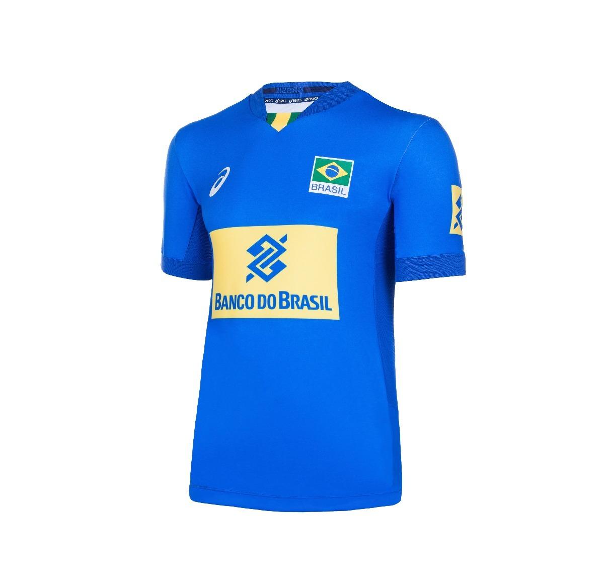 60280aeb33 Camisa Seleção Brasileira Volei Asics Azul - Original - R  169