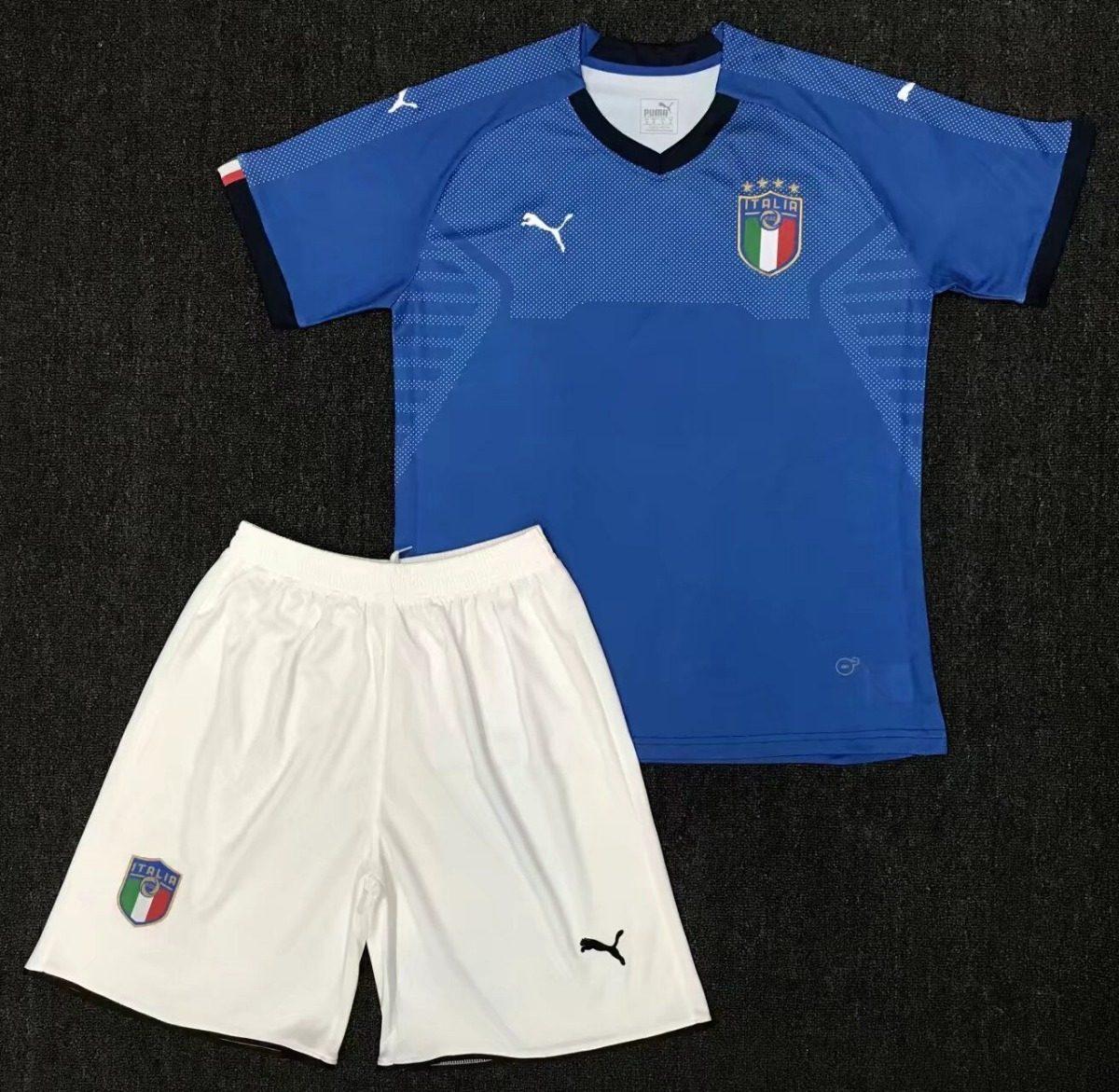 Uniforme Infantil Camisa E Shorts Criança Seleção Itália - R  149 8bb87a1b7e87d