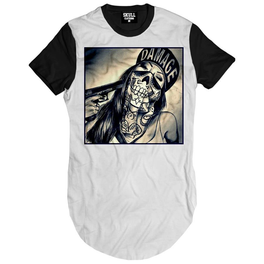 Camisa Sexy Girl Gangster Criminal Swag Camiseta Longline Ny - R  49 ... 1bf75baf72eec