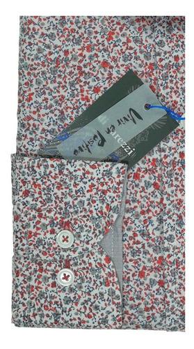 camisa slim divarezzi estampada oxido gris algodón polieste