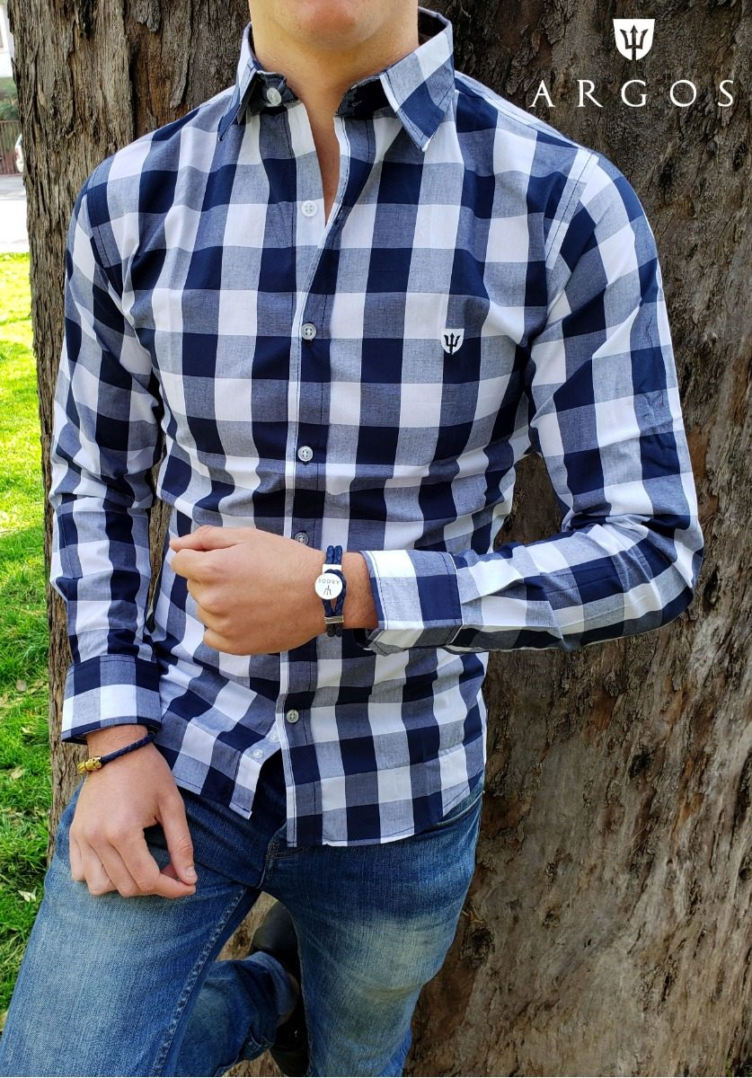0409690b723ea Camisa Slim Fit Argos Cuadros Azules Caballero Casual -   549.00 en ...