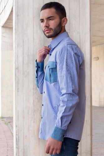 camisa slim fit azul mini cuadros tipo jean bolsillo fuelle