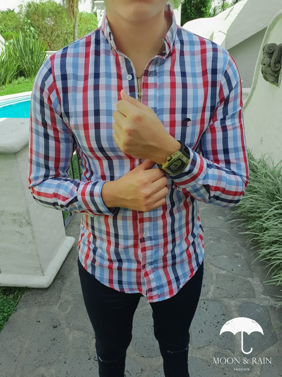 Camisa Slim Fit Blanca Cuadros Rojos, Azul, Marino M&r