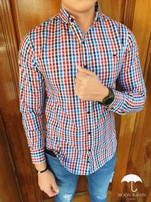 Camisa Slim Fit Cuadricula Negro, Azul, Rojo, Vino M&r