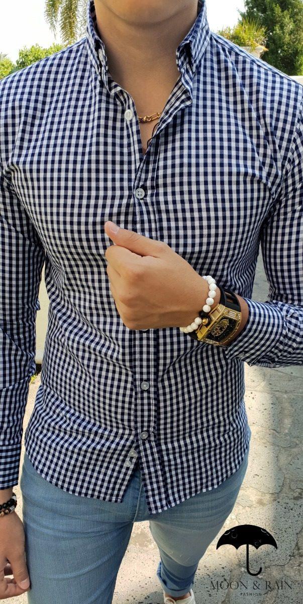 10b0e17e5b970 Camisa Slim Fit Cuadros Azules Y Blancos - Moon   Rain -   599.00 en ...