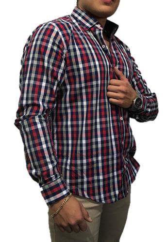 camisa slim fit cuadros rojo/marino - peaceful