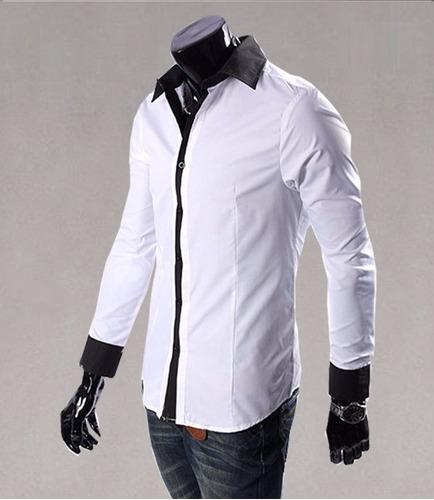 camisa slim fit elegante cuello contrastante moda japonesa