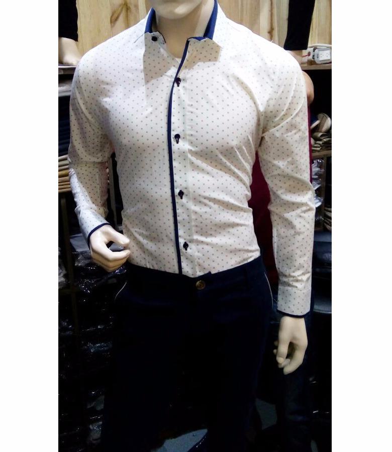 3a425a5f7b2bc Camisa Slim Fit Hombre Blanca Con Pepas Marca Nacional! -   71.999 ...