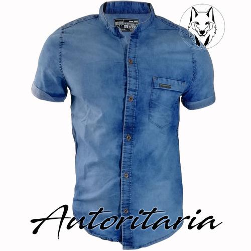 camisa slim fit hombre, indigo industrial desgastado manga c