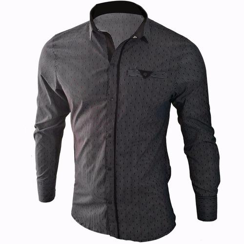 camisa slim fit hombre, lino, diseño exclusivo manga larga
