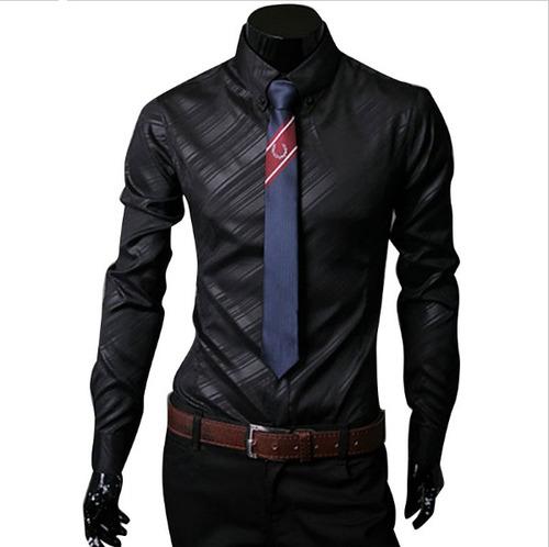 camisa slim fit hombre manga larga promocion