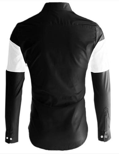 camisa slim fit lcc58 black  marca la chaqueteria