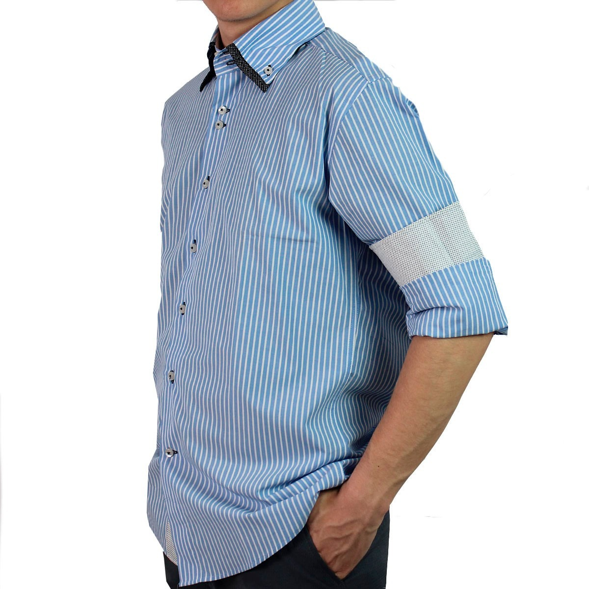 7f946715d4 camisa slim fit manga longa listrada com gola diferenciada. Carregando zoom.