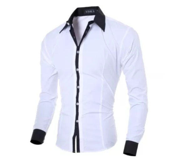 7b2a3e437b Camisa Slim Fit Social Masculina Moda Cor Branca E Preta - R  116