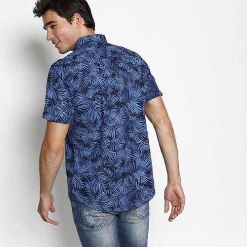 camisa slim folhagens - azul marinho & azul - malwee