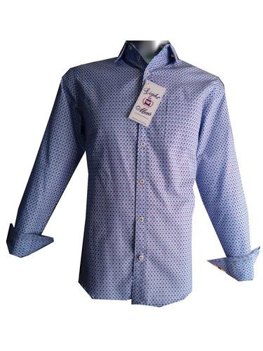 camisa slim m/ l azul cielo con figuras caballero