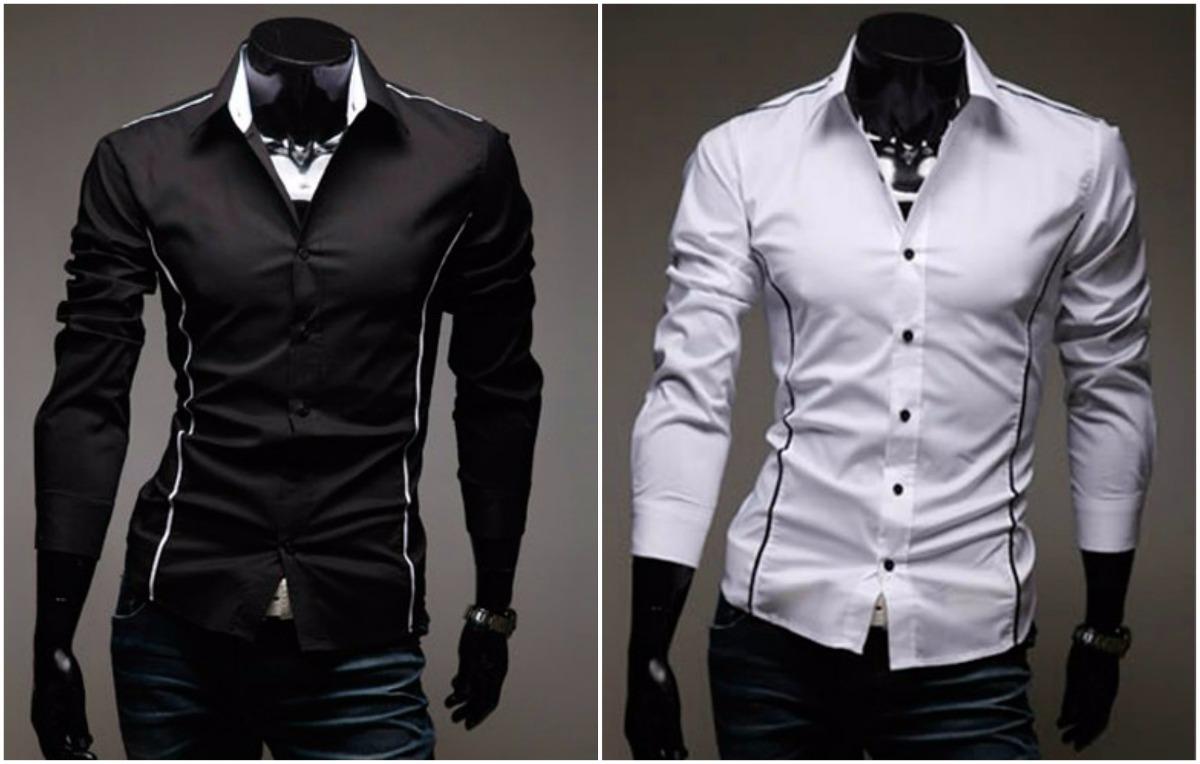 cd901f9cdd camisa slim social manga longa modelo j branca  preta  azul. Carregando  zoom.