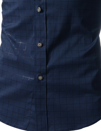 camisa slimfit metal buttons a cuadros casual formal 1a2dias