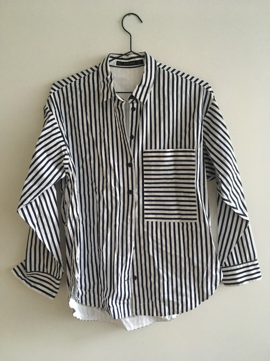 Camisa Small Mujer Zara Rayada Azul Y Blanca Única! $ 900,00