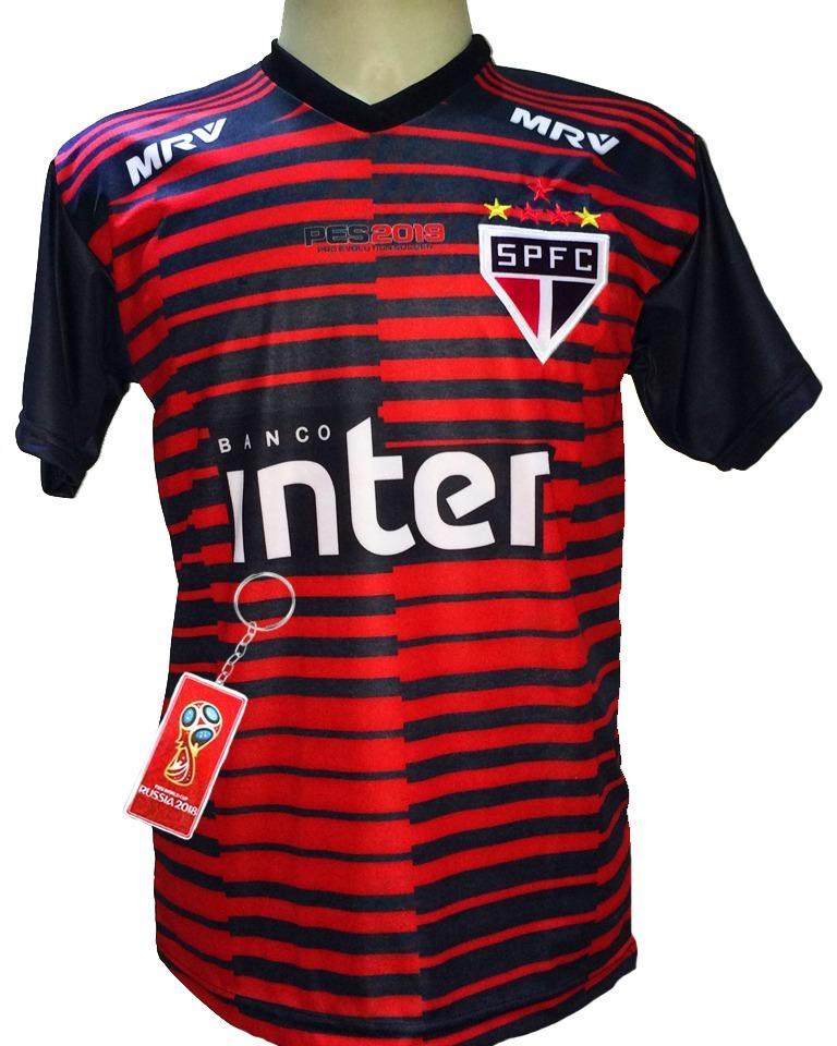 Camisa São Paulo Goleiro Vermelha Preto 2019 Nova - R  29 424dd12fa61fd