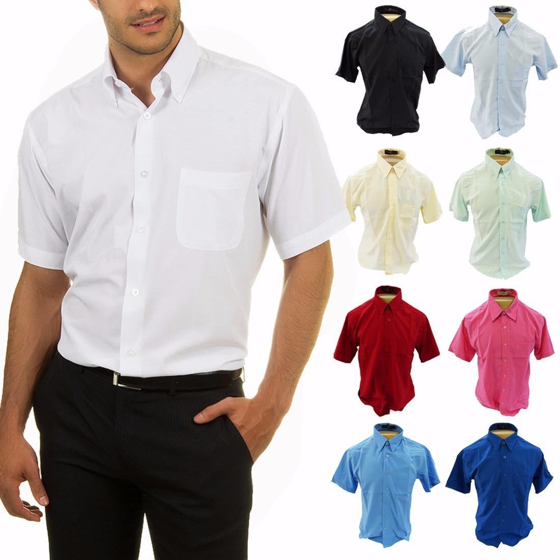 camisa social 100% microfibra - manga curta - não amassa. Carregando zoom. 6db109a94d062