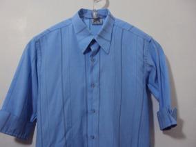 93e8043fdd Camisa Social Azul E Listras Pretas