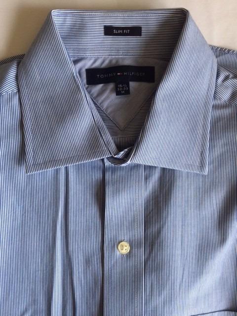 33db5aa8af Camisa Social Azul Listrada Tommy Hilfiger Tam M - R  178