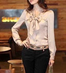 e6bcdfbb1f Camisa Social Blusa Feminina Laço Gravata Acinturada Plus