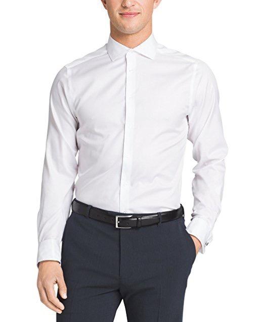 69336de987781 Camisa Social Calvin Klein Branca Slim Fit 12x Sem Juros - R  152